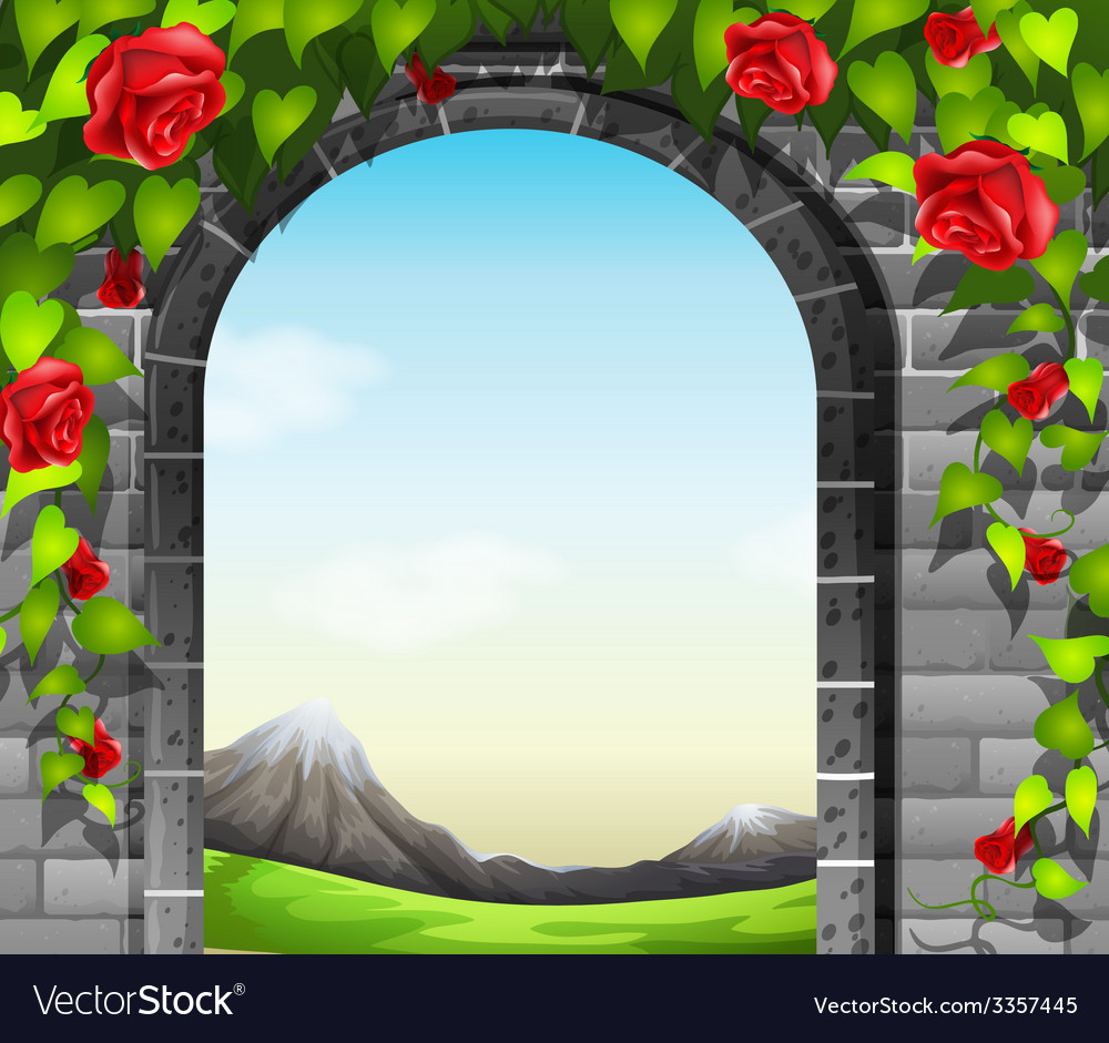 A stonewall with roses vector | Price: 3 Credit (USD $3)
