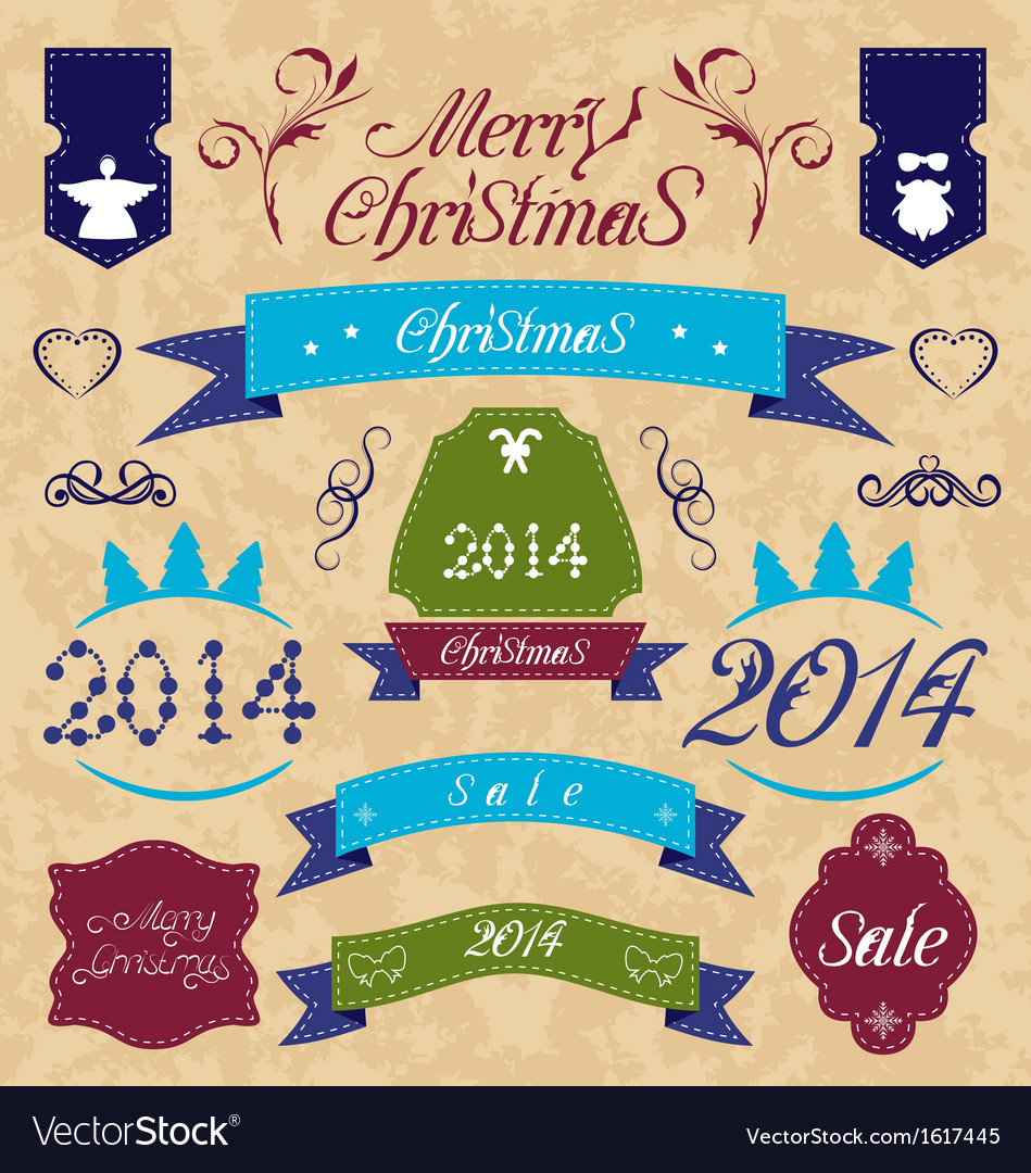 Christmas set - labels ribbons and other vector | Price: 1 Credit (USD $1)