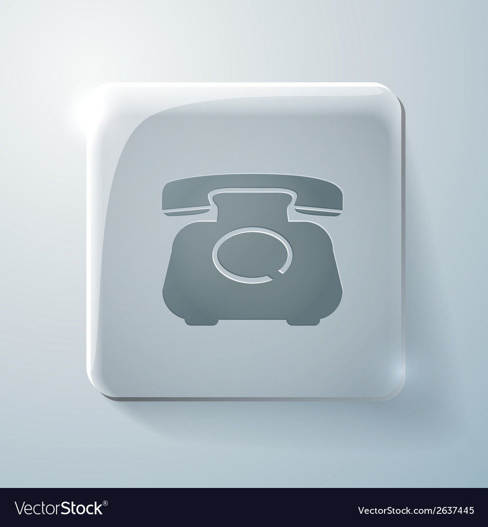 Classic retro phone glass square icon vector | Price: 1 Credit (USD $1)