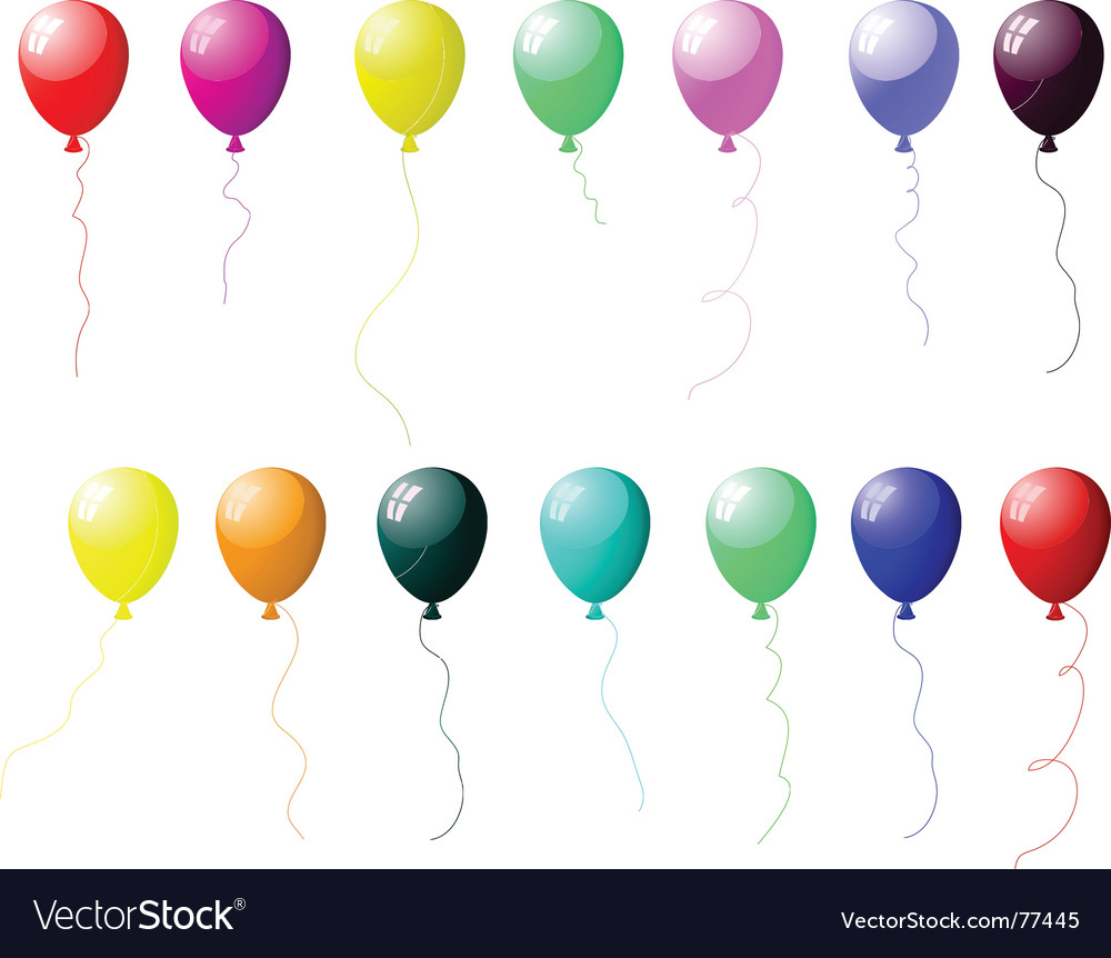 Colourful balloons set with glare vector | Price: 1 Credit (USD $1)