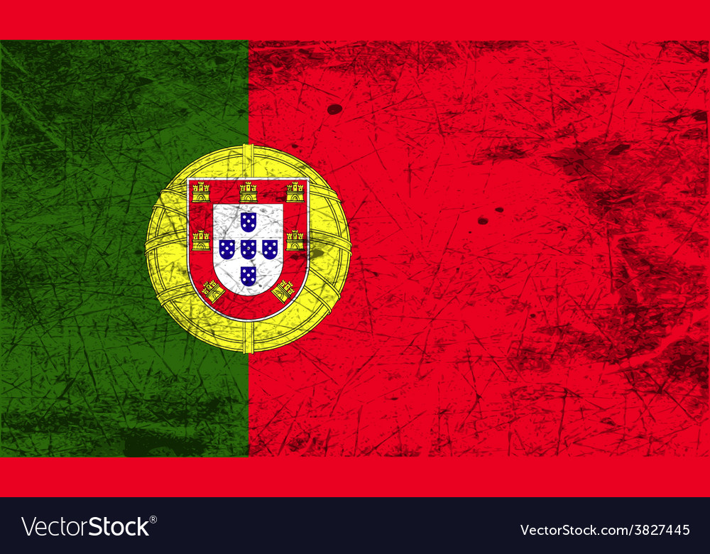 Flag of portugal with old texture vector | Price: 1 Credit (USD $1)