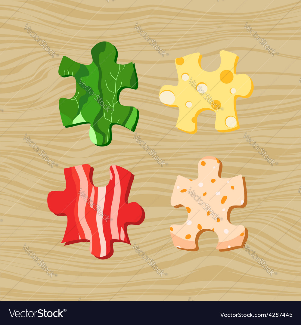 Food puzzles vector | Price: 1 Credit (USD $1)