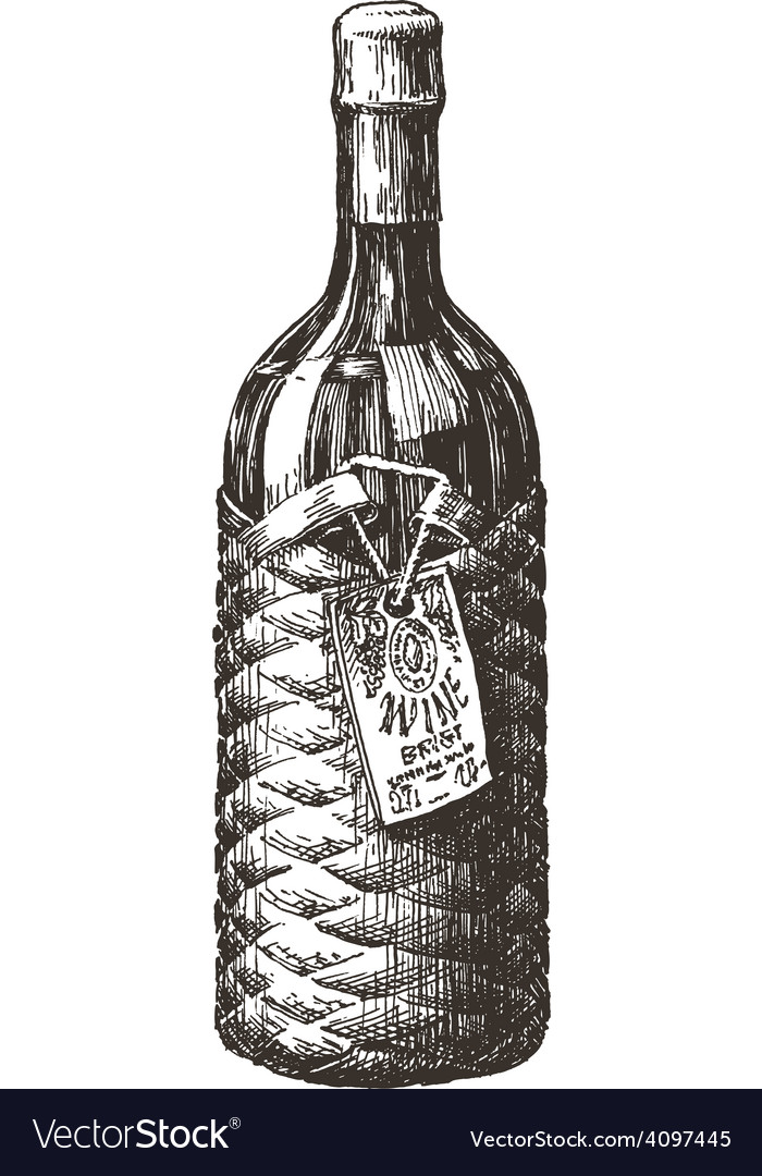 Retro wine bottle logo design template vector | Price: 3 Credit (USD $3)