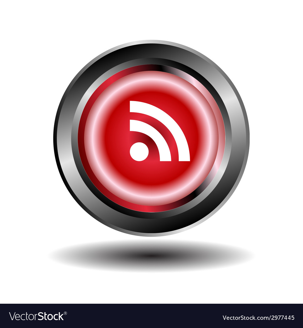Rss feed icon on button vector | Price: 1 Credit (USD $1)