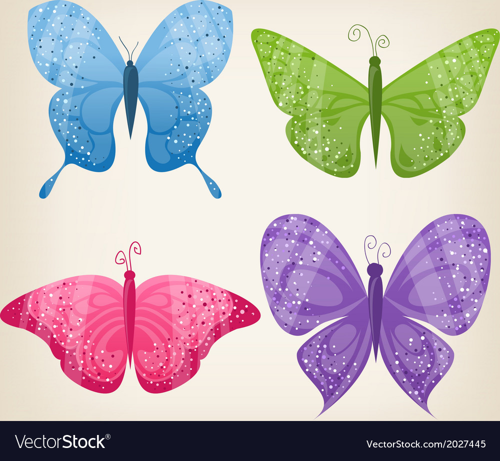 Set of four butterflies vector | Price: 1 Credit (USD $1)