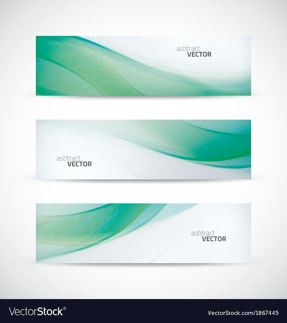 Three abstract green ecology wave banner header vector | Price: 1 Credit (USD $1)