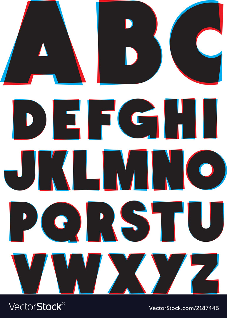 3d glasses effect alphabet font type alphabet vector | Price: 1 Credit (USD $1)