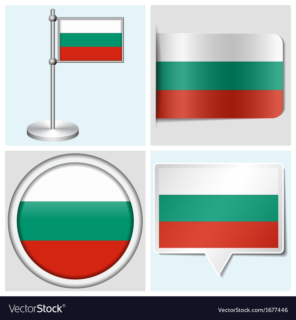 Bulgaria flag - sticker button label flagstaff vector | Price: 1 Credit (USD $1)