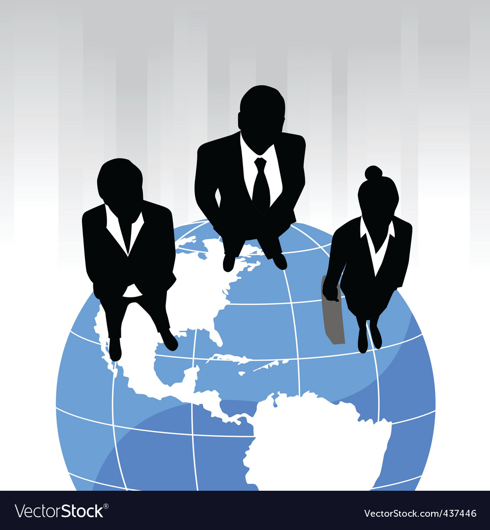 Business team on the planet vector | Price: 1 Credit (USD $1)