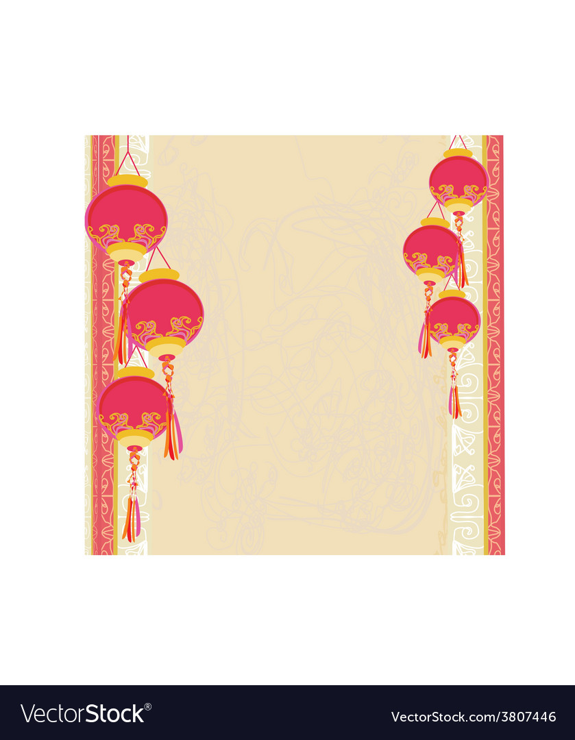 Chinese new year with chinese lanterns card vector   Price: 1 Credit (USD $1)