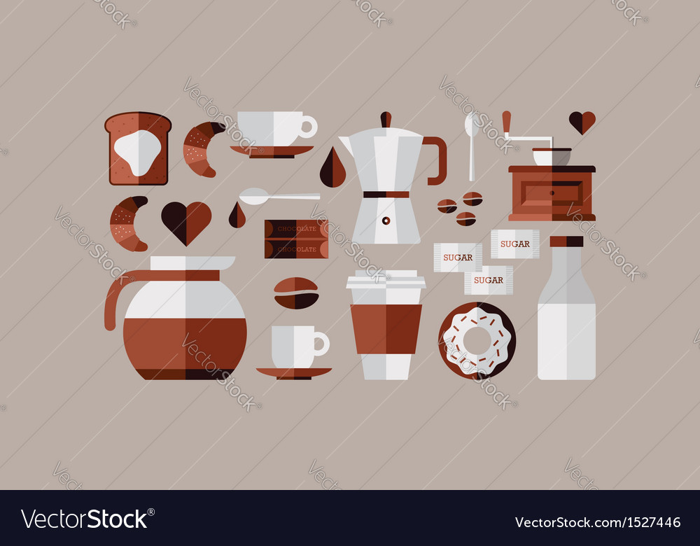 Coffee breakfast icons vector | Price: 1 Credit (USD $1)