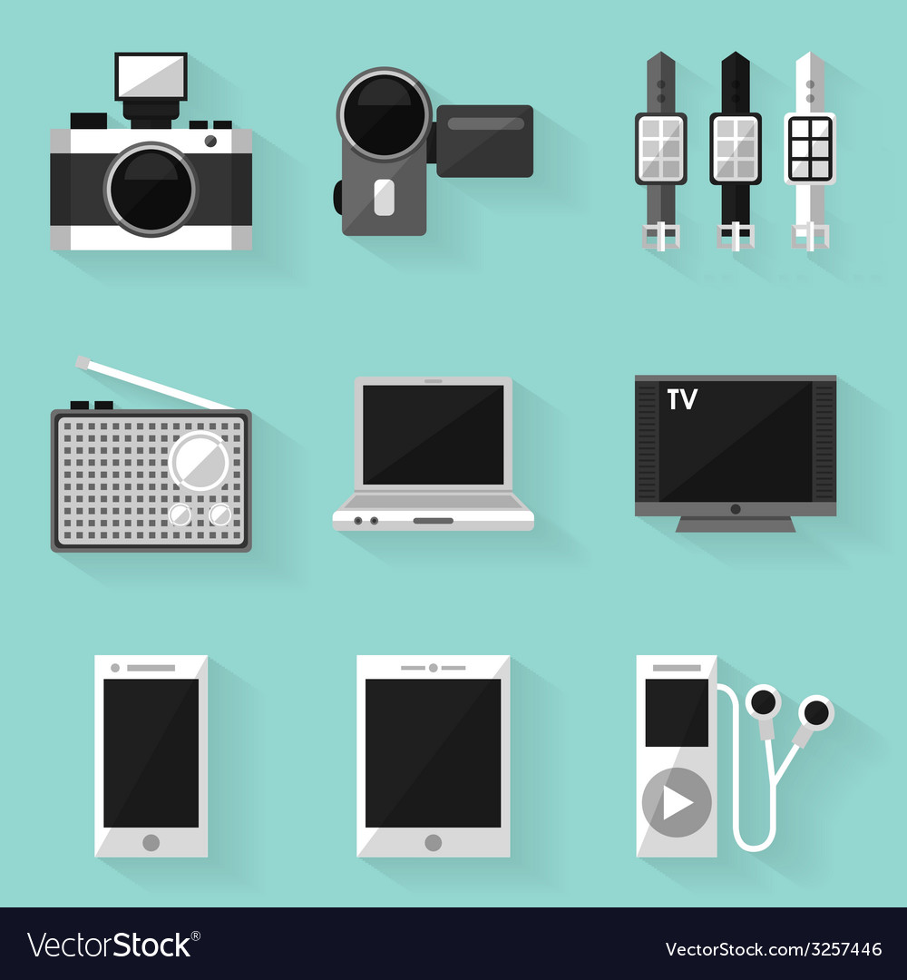Flat icon set device white style vector | Price: 1 Credit (USD $1)
