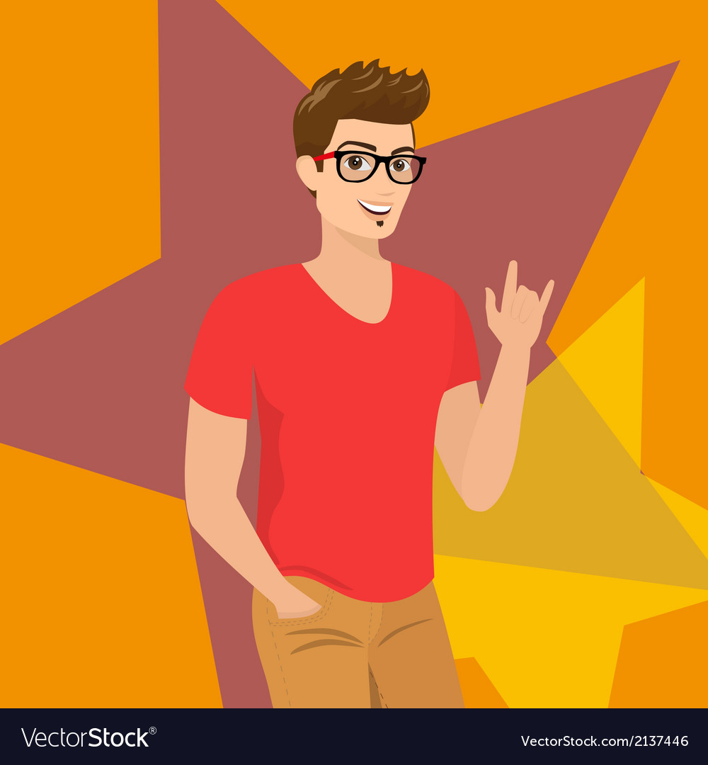 Handsome guy wearing glasses close-up vector | Price: 1 Credit (USD $1)