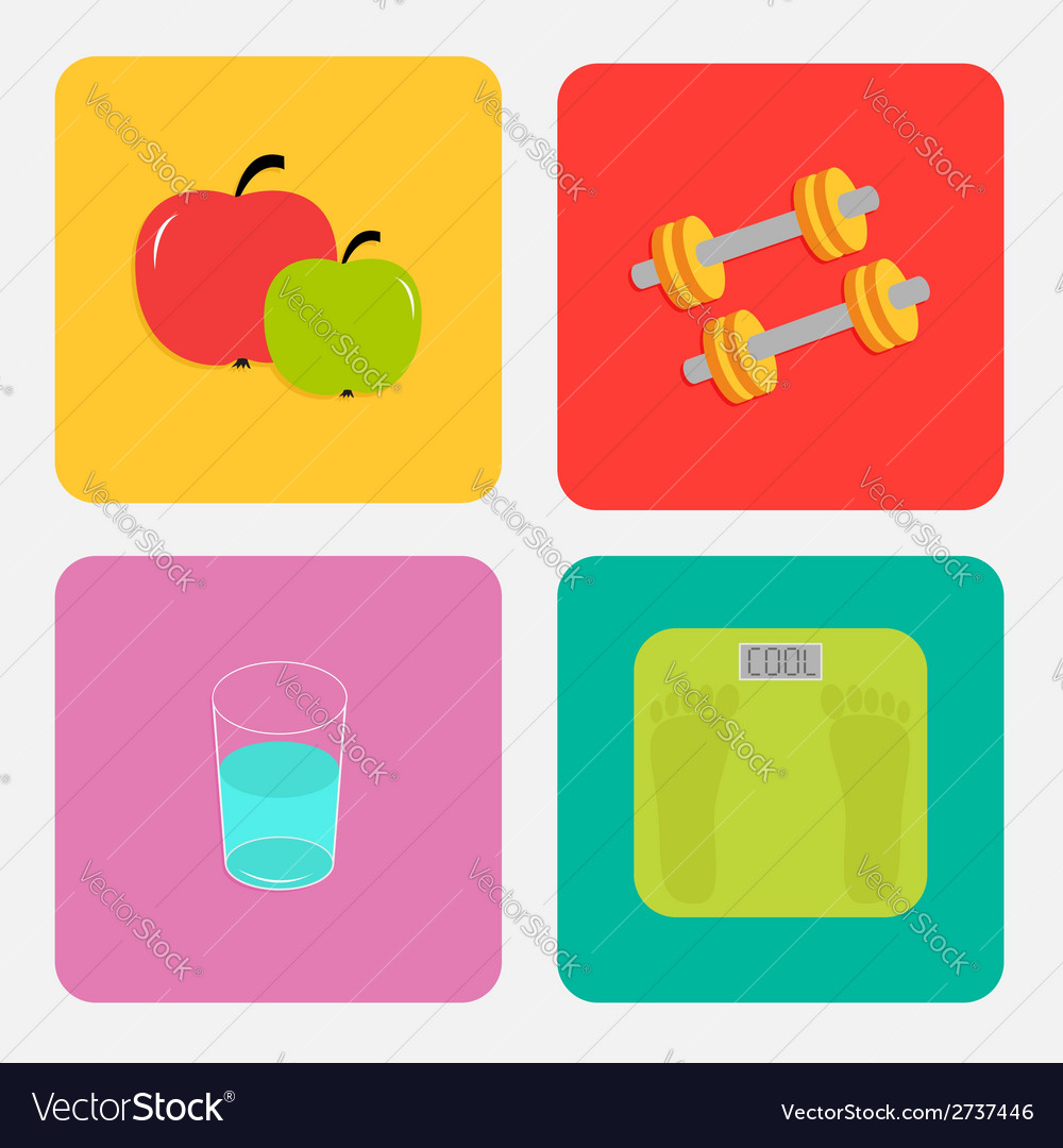 Healthy life style icon set apple dumbbells water vector | Price: 1 Credit (USD $1)