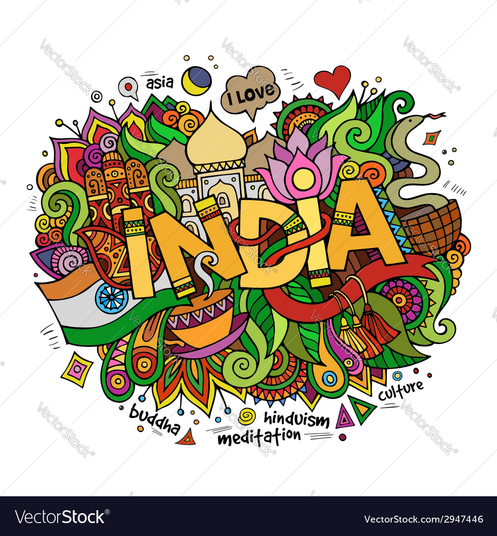 India hand lettering and doodles elements vector | Price: 1 Credit (USD $1)