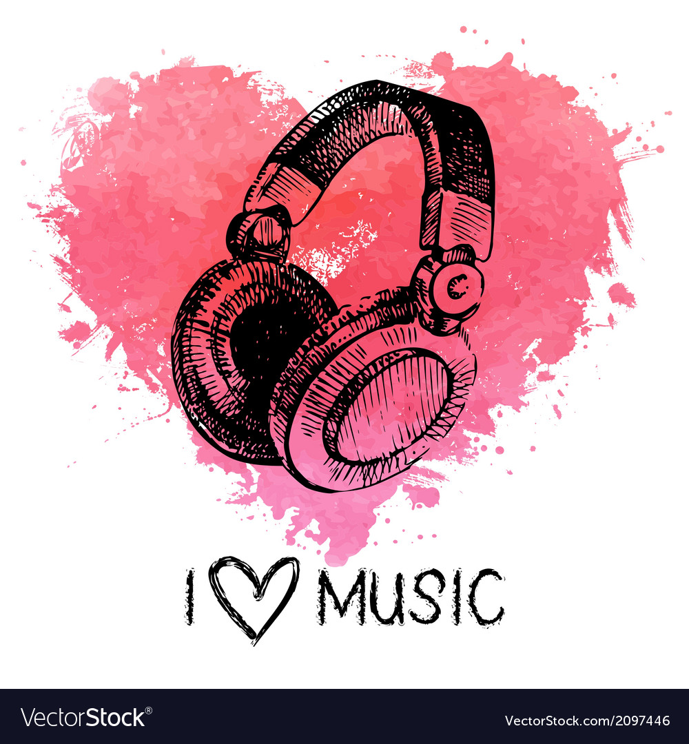 Music background with splash watercolor heart vector | Price: 1 Credit (USD $1)
