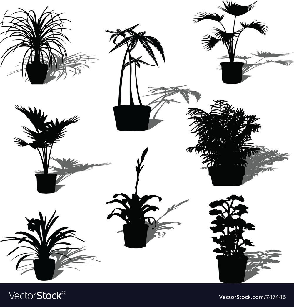 Potted plant silhouettes vector | Price: 1 Credit (USD $1)