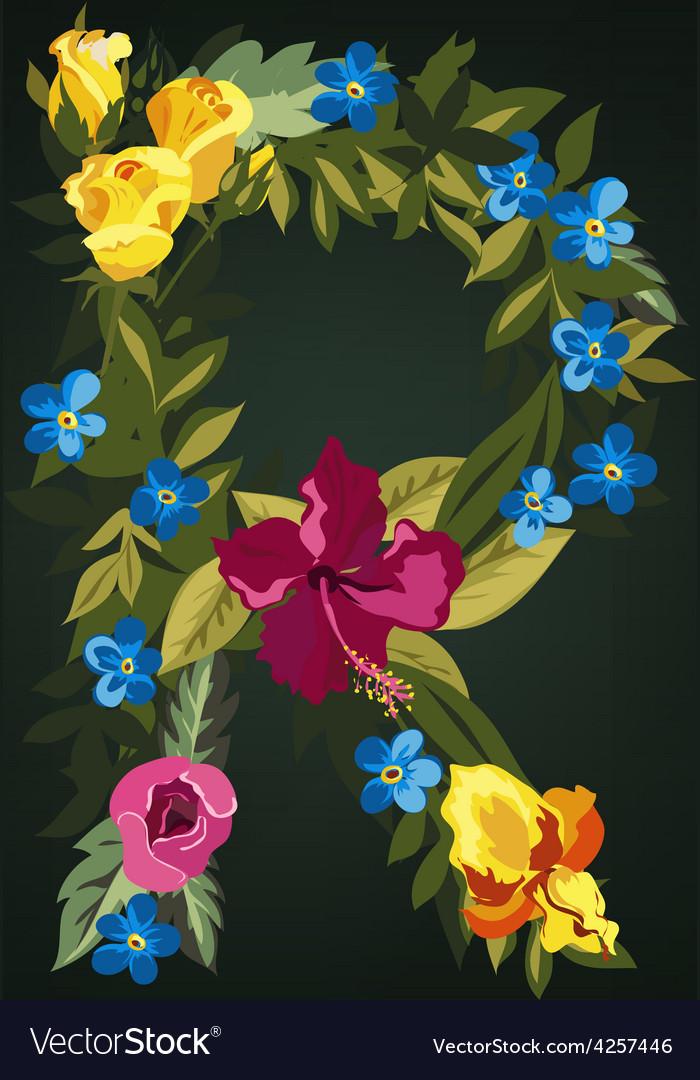 R letter flower capital alphabet colorful font vector | Price: 1 Credit (USD $1)