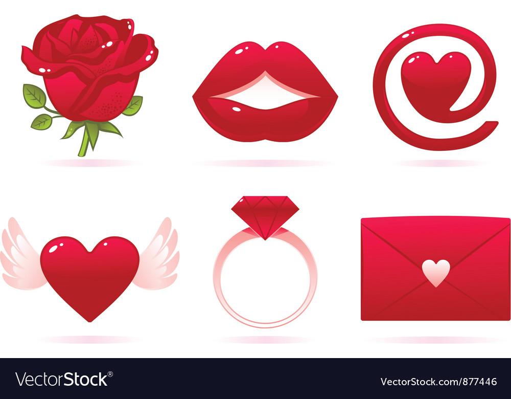 Romantic icons vector | Price: 1 Credit (USD $1)