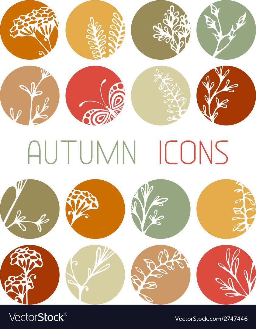 Set of autumn flat icons vector | Price: 1 Credit (USD $1)