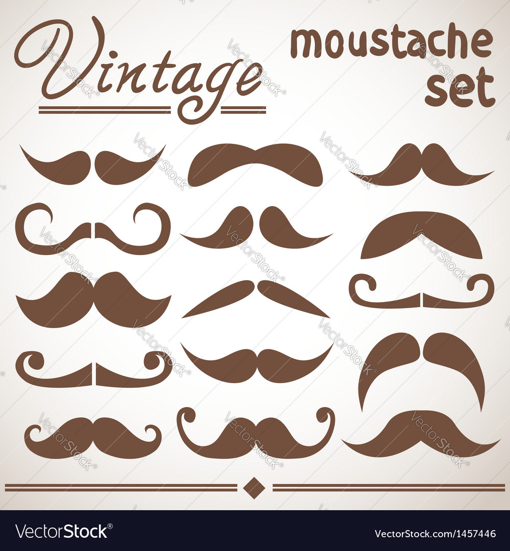 Vintage hipster moustache collection vector | Price: 1 Credit (USD $1)