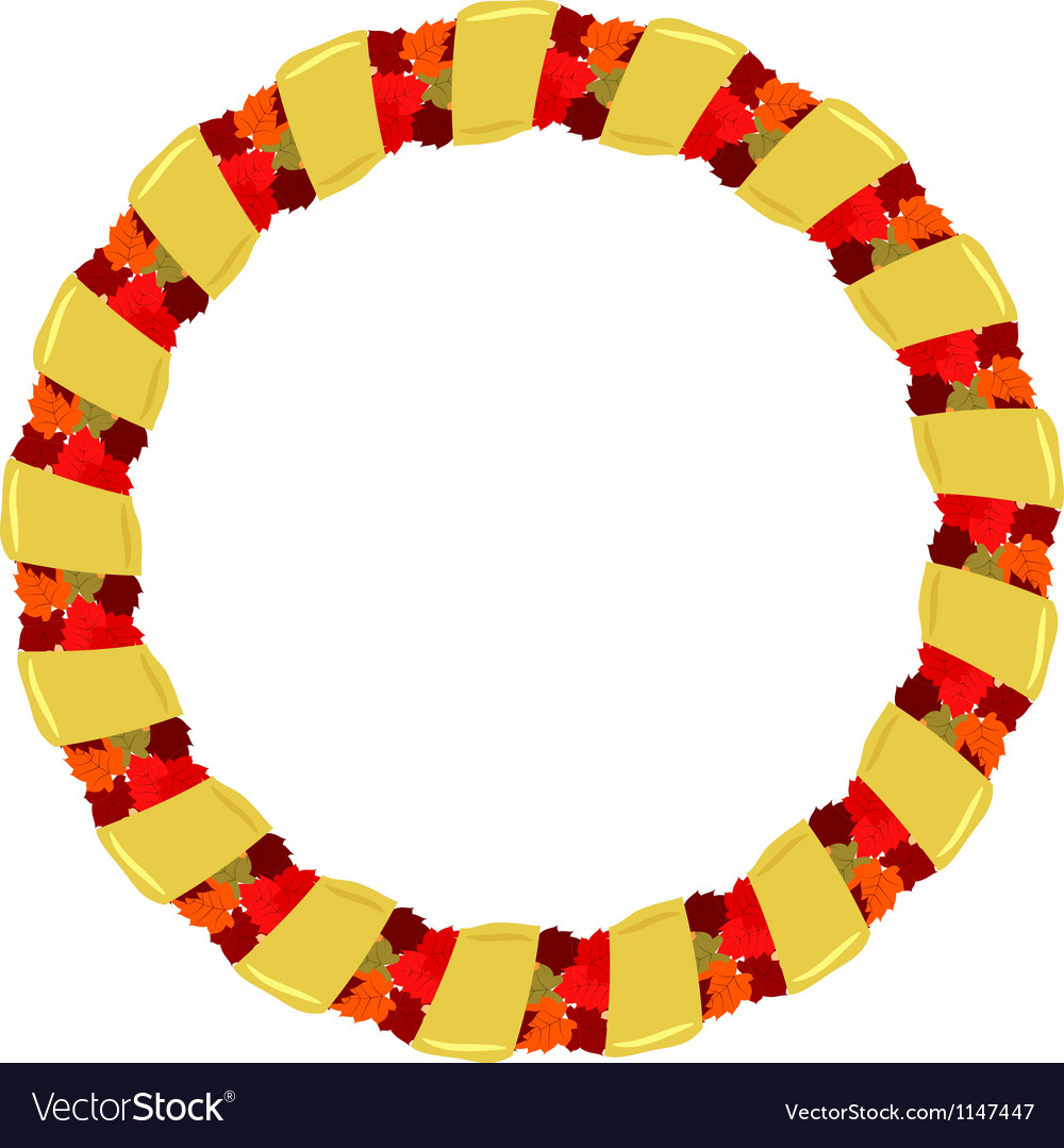 Abstract round frame of autumn leaves vector | Price: 1 Credit (USD $1)