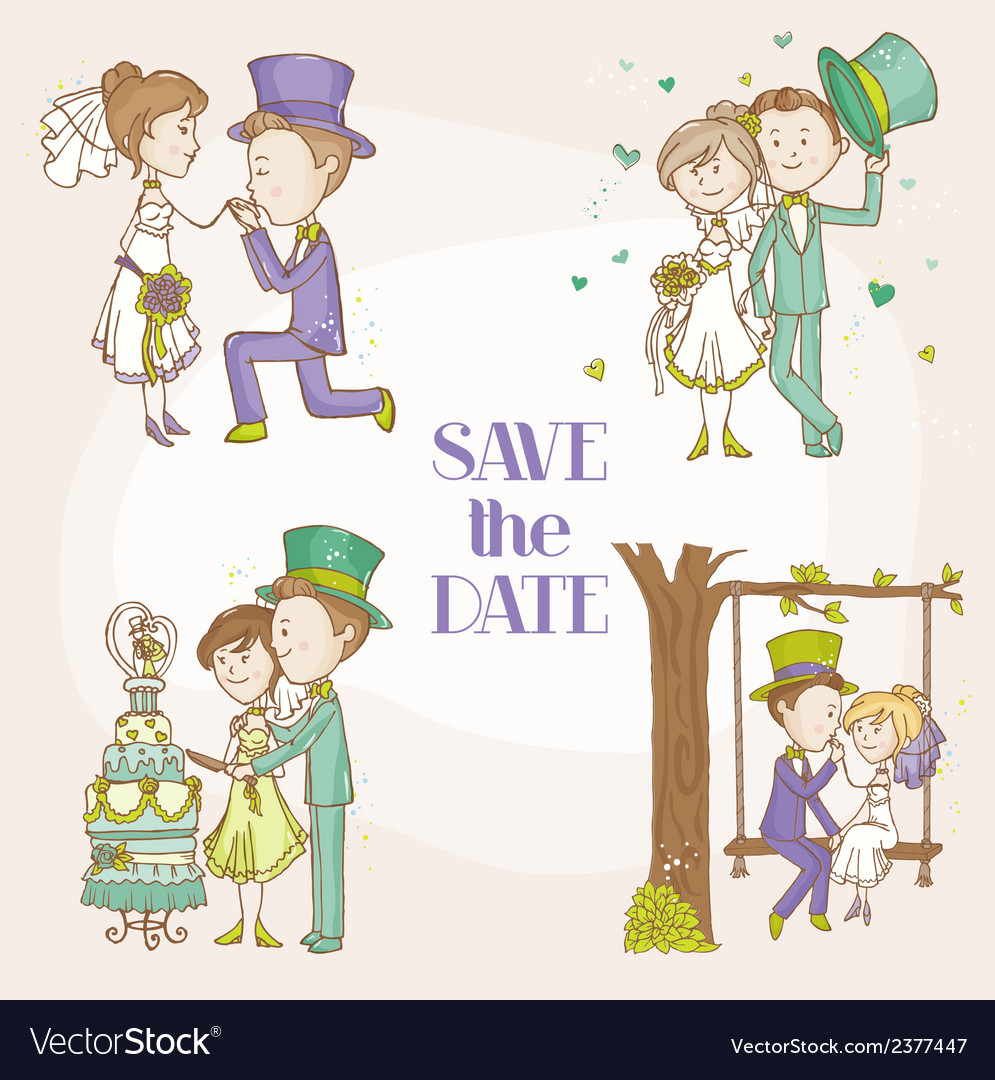 Bride and groom - wedding doodle set vector | Price: 1 Credit (USD $1)