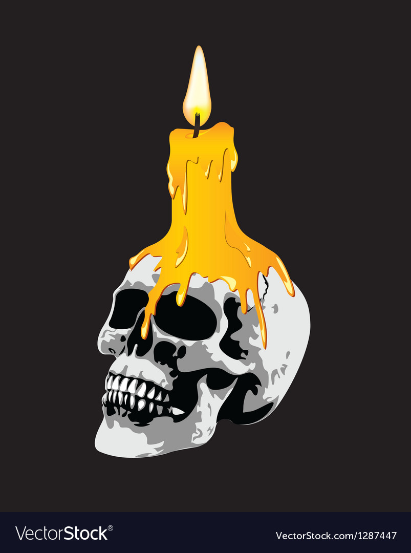 Candle on a skull vector | Price: 1 Credit (USD $1)