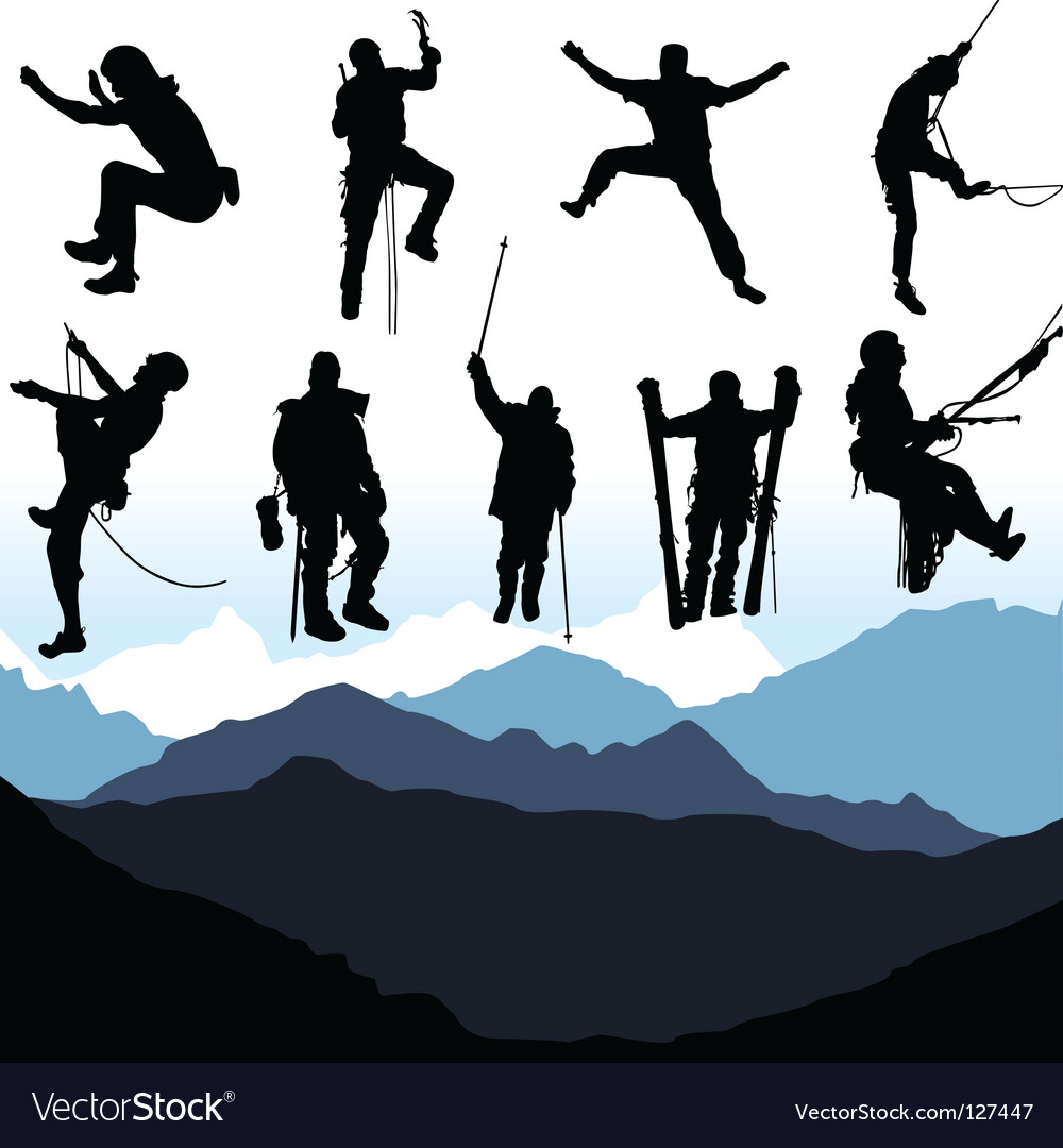 Climbers and mountain set vector | Price: 1 Credit (USD $1)