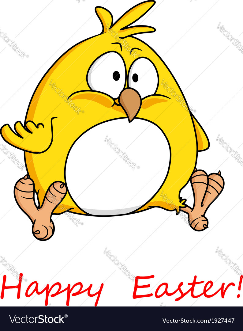 Fat yellow chicken wishing you happy easter vector | Price: 1 Credit (USD $1)
