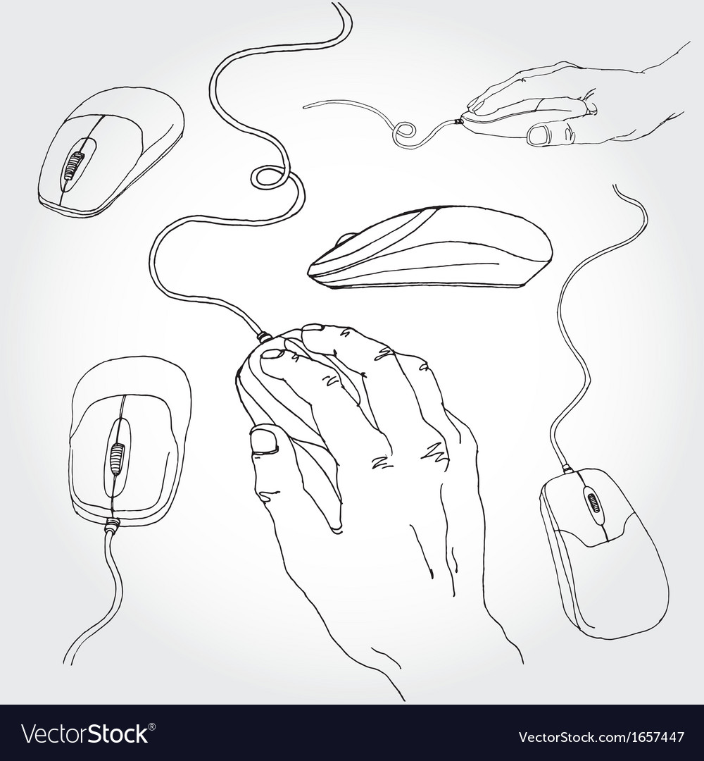 Hand on mouse outline vector | Price: 1 Credit (USD $1)
