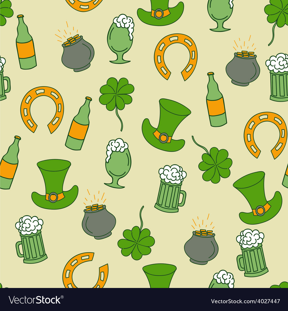 Saint patricks day seamless pattern with beer and vector | Price: 1 Credit (USD $1)