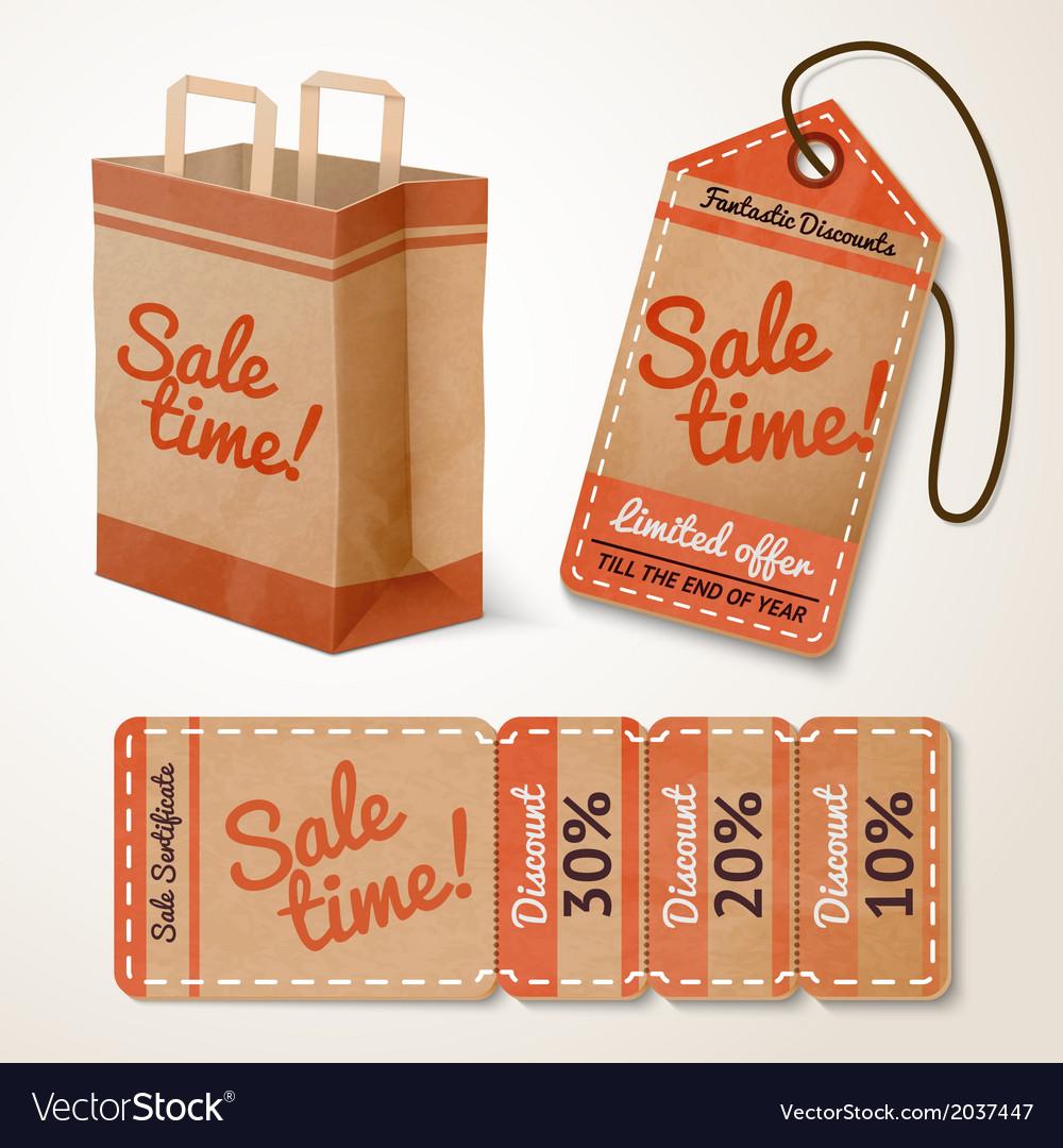 Sale items cardboard set vector | Price: 1 Credit (USD $1)