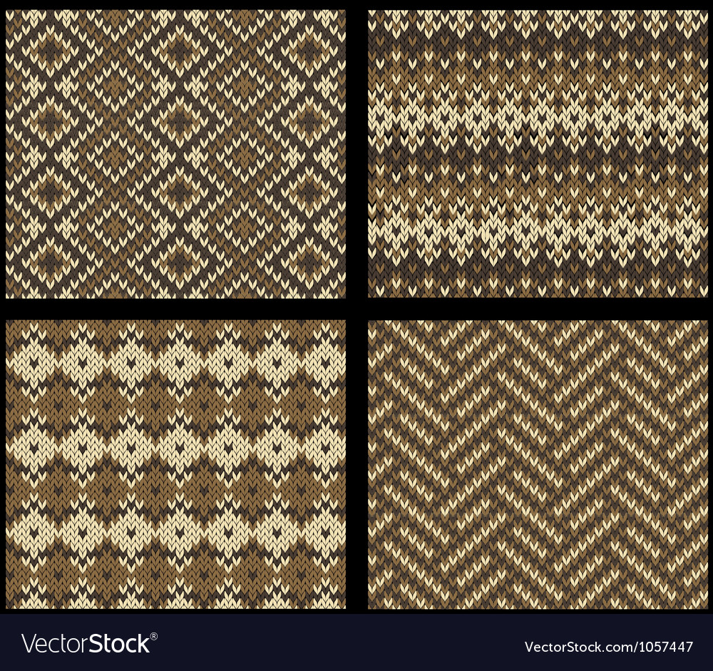 Set of four knitted swatches with fair isle vector | Price: 1 Credit (USD $1)