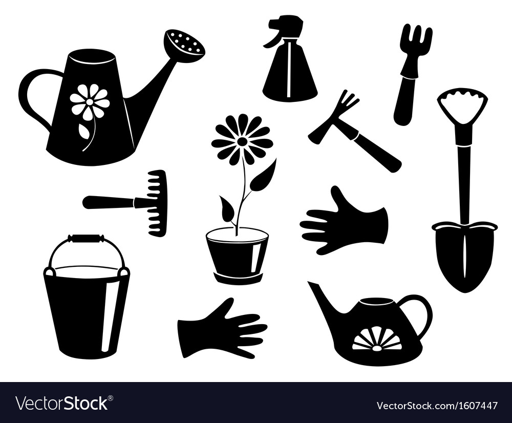 Silhouettes of garden tools vector | Price: 1 Credit (USD $1)