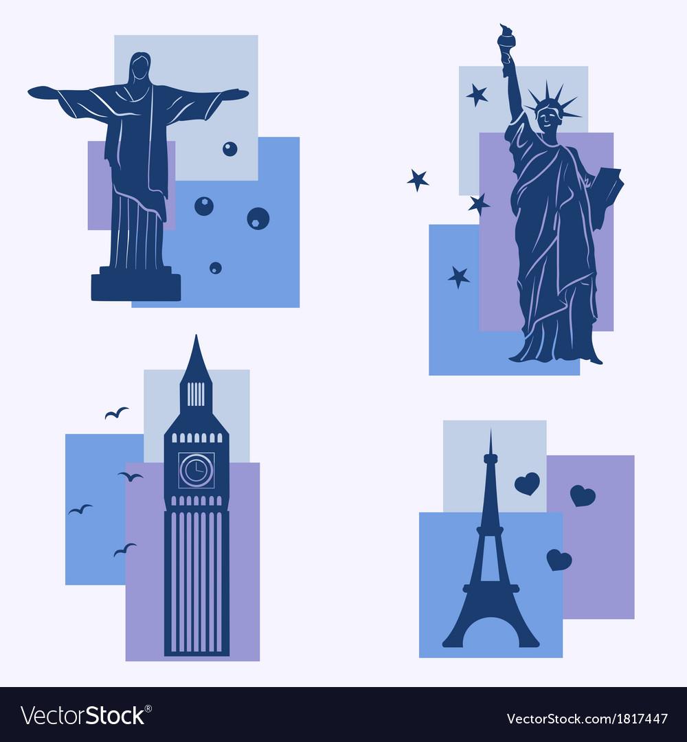 World landmarks icons set vector | Price: 1 Credit (USD $1)