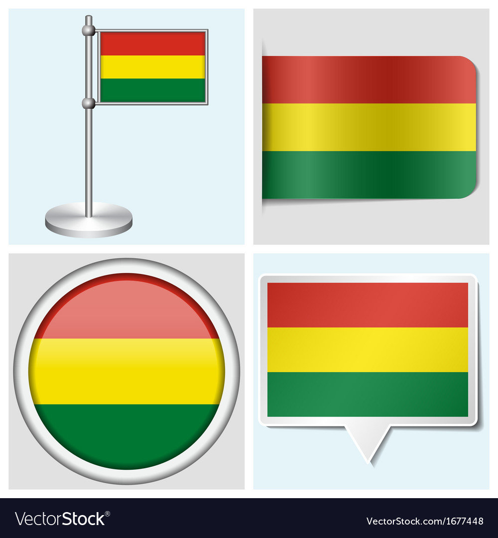 Bolivia flag - sticker button label flagstaff vector | Price: 1 Credit (USD $1)