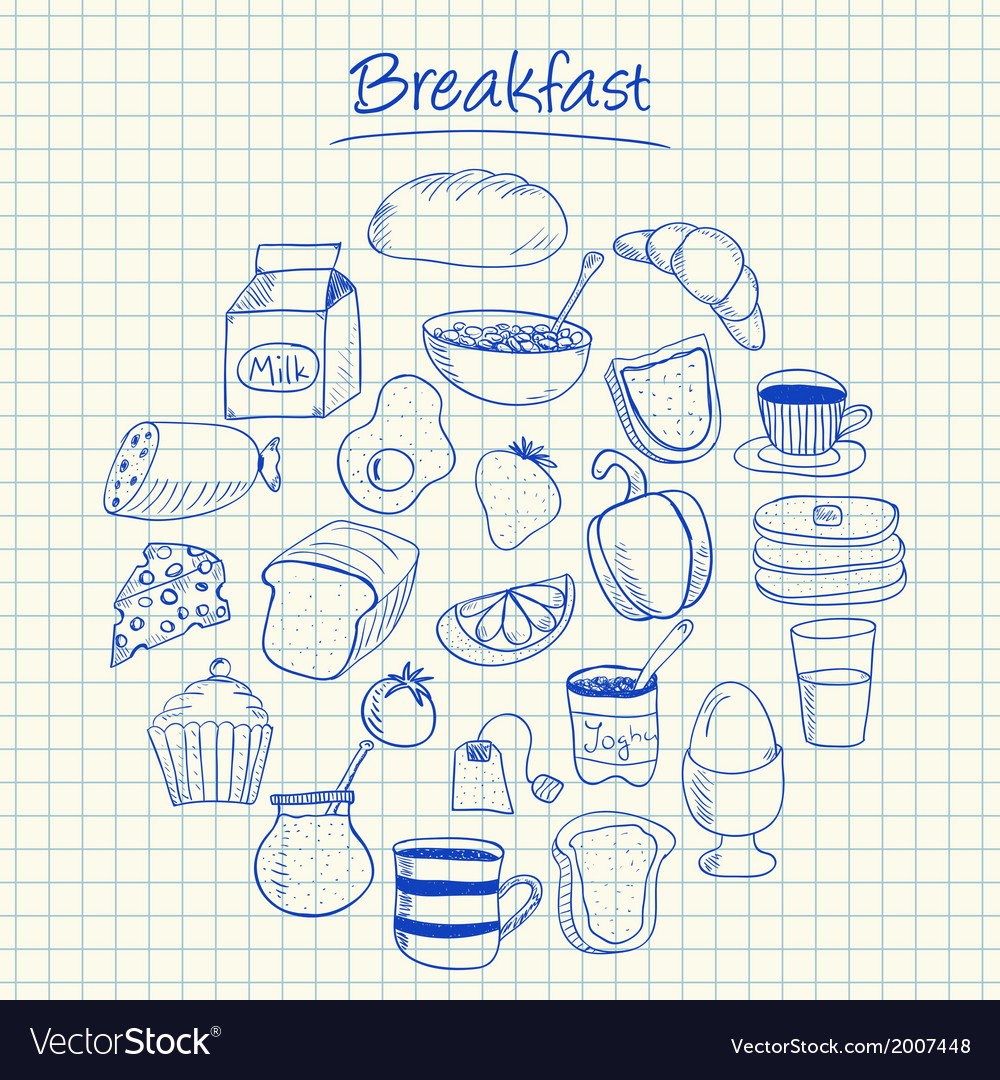 Breakfast doodles squared paper vector | Price: 1 Credit (USD $1)