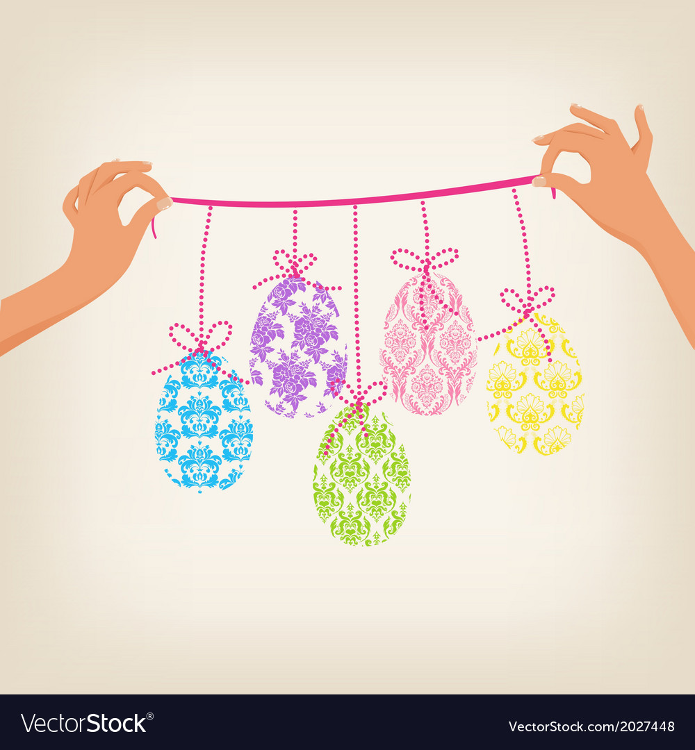 Cute easter garland vector | Price: 1 Credit (USD $1)