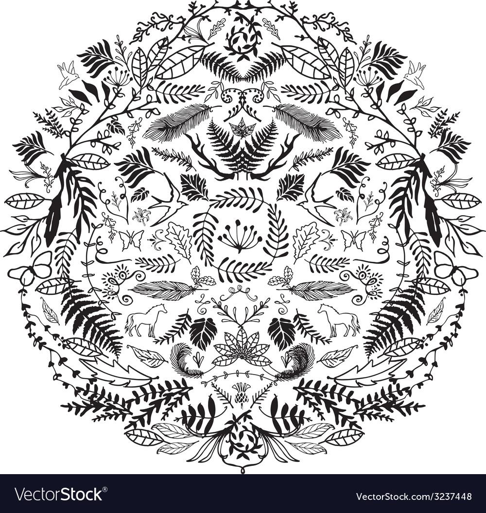 Decorative floral circle vector | Price: 1 Credit (USD $1)