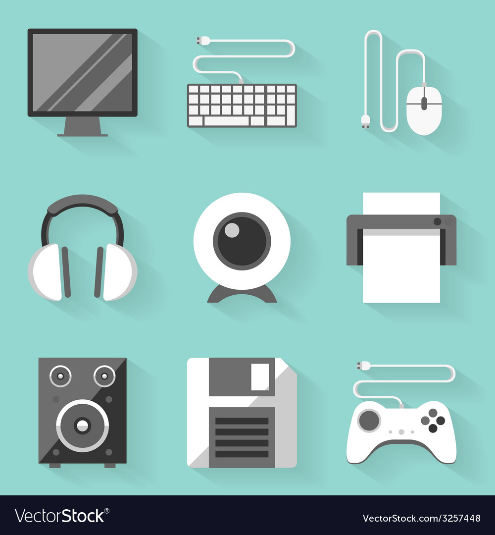 Flat icon set computer white style vector | Price: 1 Credit (USD $1)