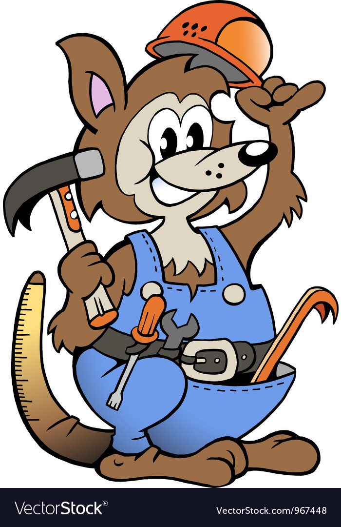 Hand-drawn of an kangaroo handyman vector | Price: 1 Credit (USD $1)
