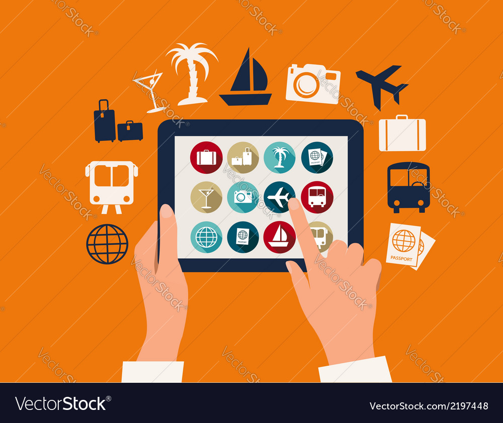 Hands touching a tablet with vacation and travel vector | Price: 1 Credit (USD $1)