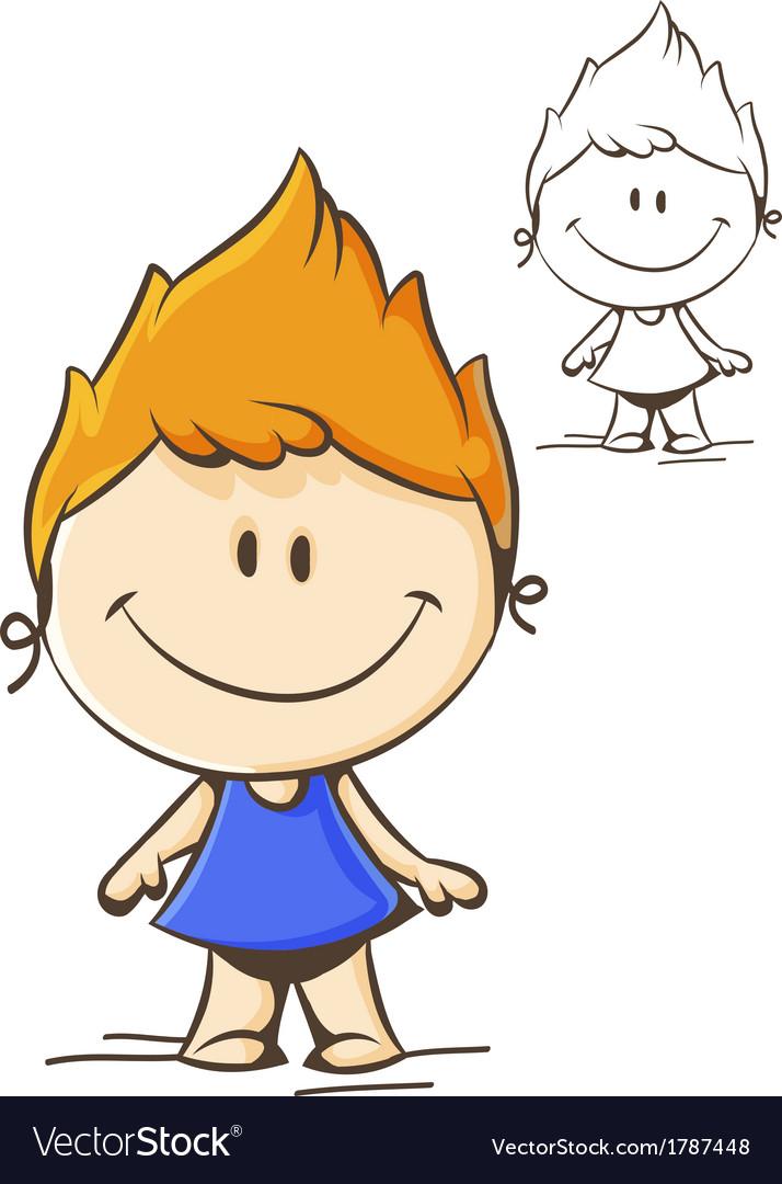 Little cute girl vector | Price: 1 Credit (USD $1)