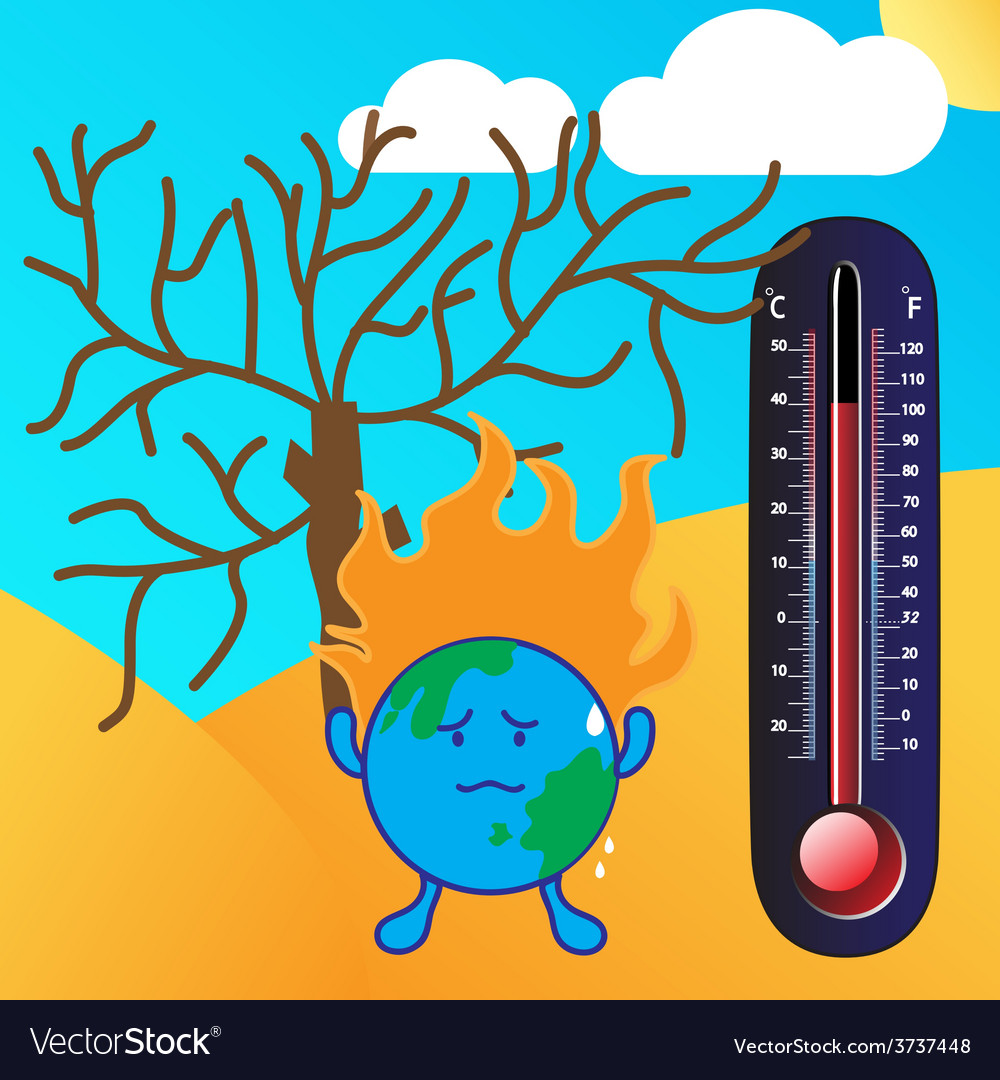 Thermometer and global warming vector | Price: 1 Credit (USD $1)
