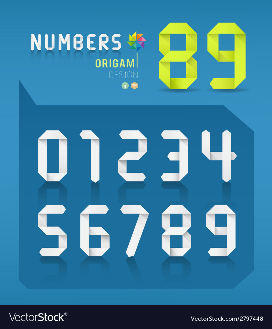 Paper origami numbers collections design vector