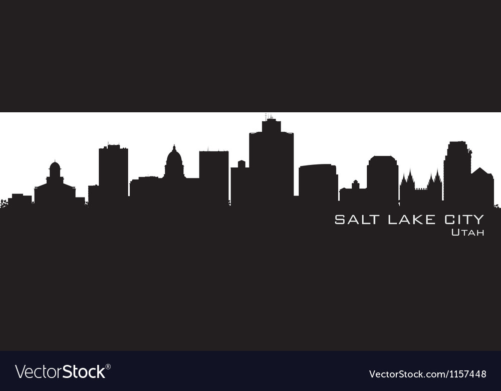 Salt lake city utah skyline detailed city silhouet vector | Price: 1 Credit (USD $1)