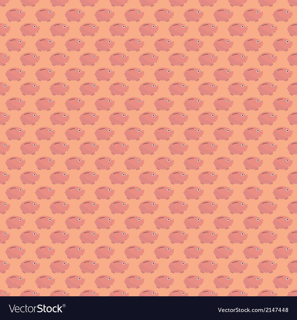Seamless cartoon piggy bank in flat design vector | Price: 1 Credit (USD $1)