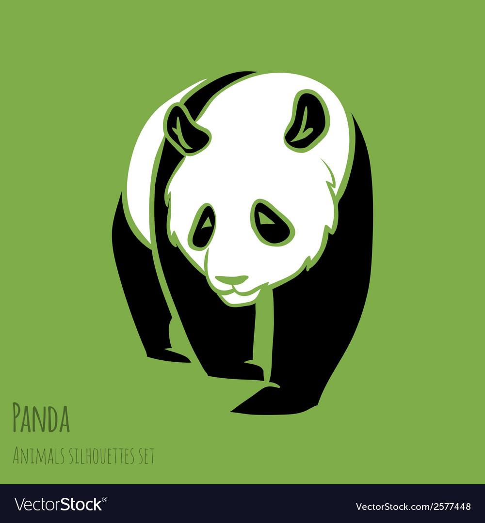 Set of panda silhouettes vector | Price: 1 Credit (USD $1)