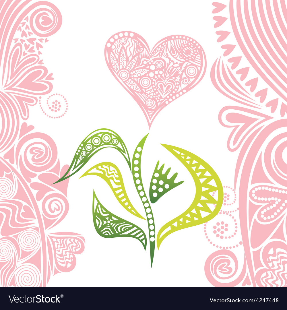 Valentines day card flower heart vector | Price: 1 Credit (USD $1)